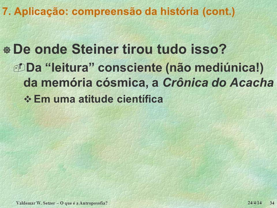 24/4/14 Valdemar W. Setzer – O que é a Antroposofia? 34 7. Aplicação: compreensão da história (cont.) De onde Steiner tirou tudo isso? Da leitura cons