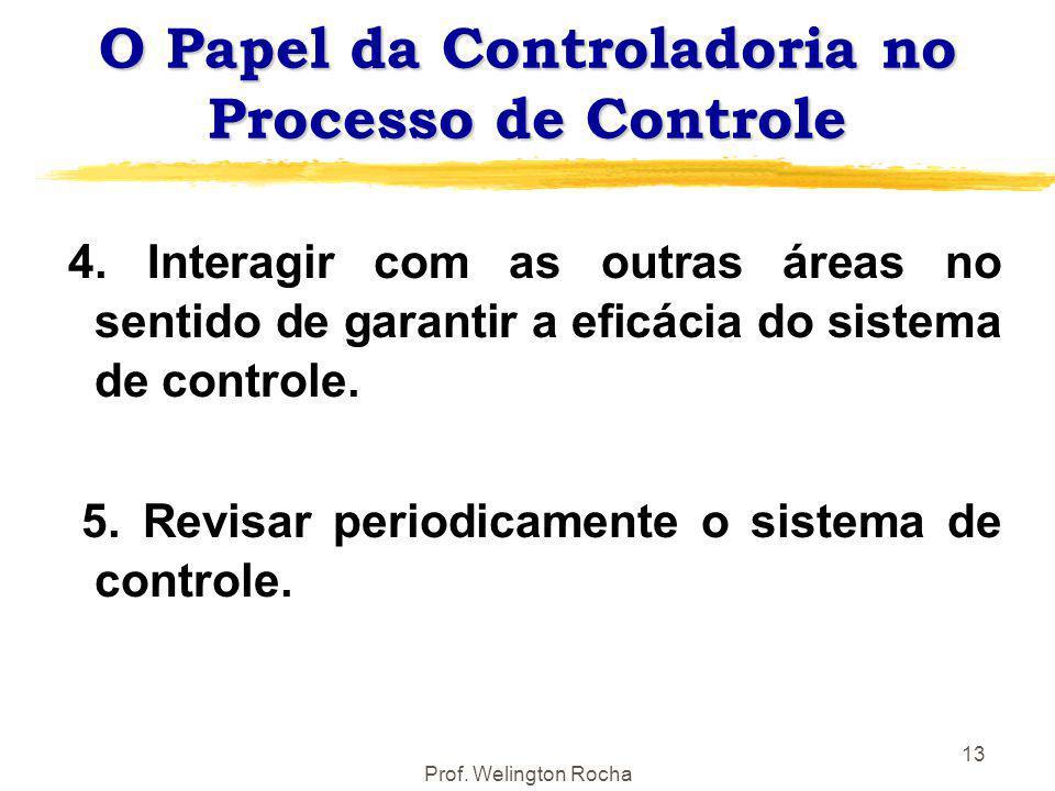 Prof. Welington Rocha 13 O Papel da Controladoria no Processo de Controle 4. Interagir com as outras áreas no sentido de garantir a eficácia do sistem