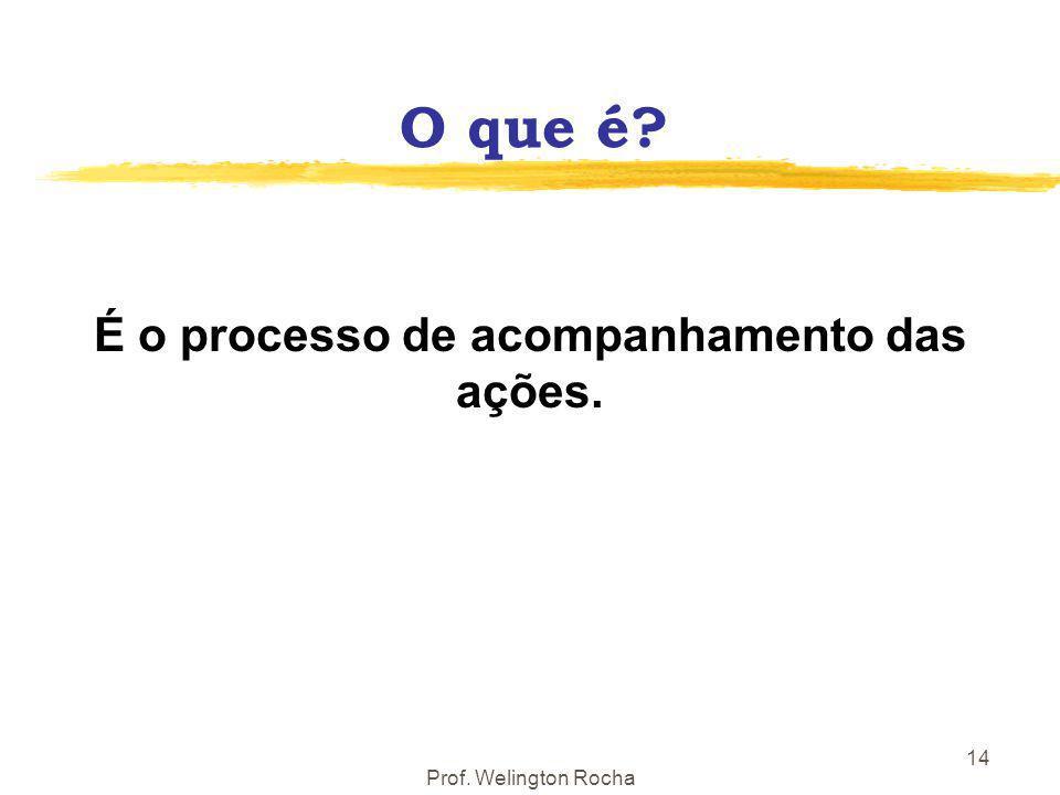 Prof. Welington Rocha 14 O que é? É o processo de acompanhamento das ações.