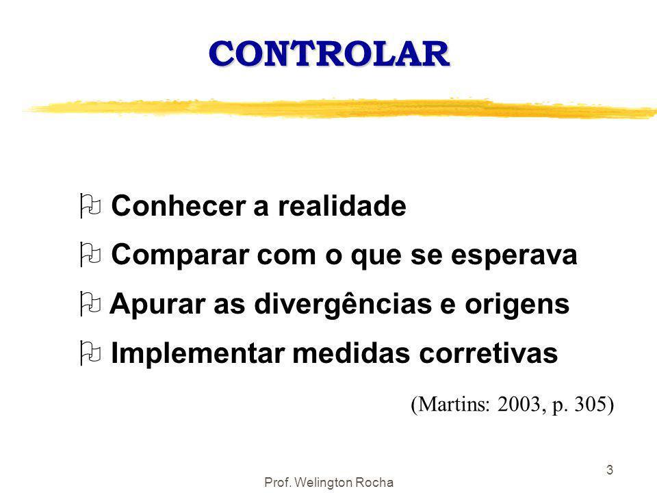 Prof. Welington Rocha 3 CONTROLAR O Conhecer a realidade O Comparar com o que se esperava O Apurar as divergências e origens O Implementar medidas cor