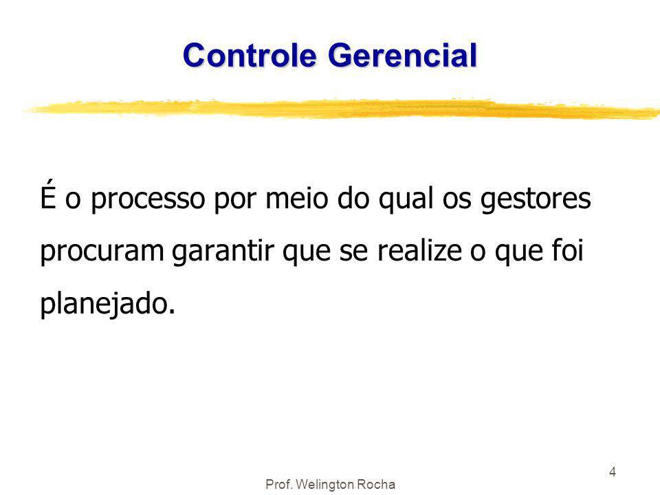 Prof. Welington Rocha 4 Controle Gerencial É o processo por meio do qual os gestores procuram garantir que se realize o que foi planejado.