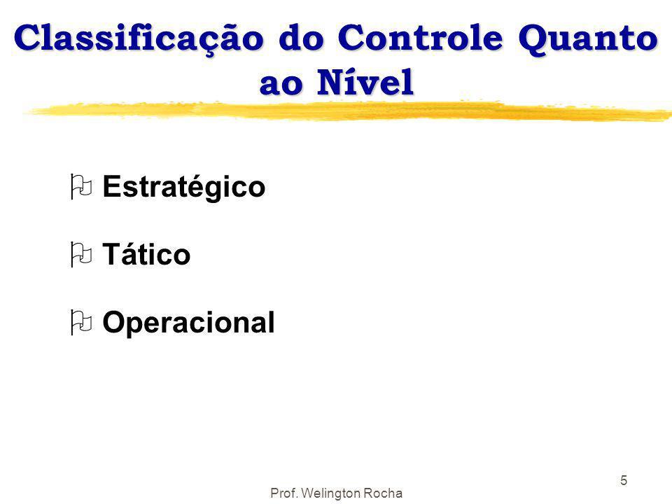 Prof. Welington Rocha 5 Classificação do Controle Quanto ao Nível O Estratégico O Tático O Operacional
