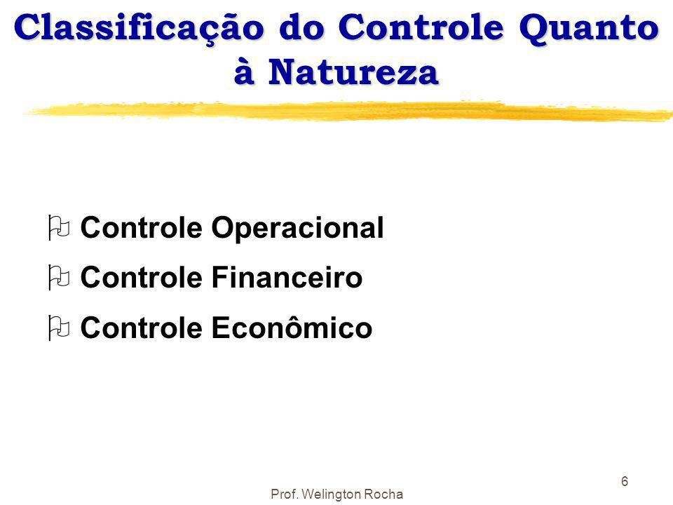 Prof. Welington Rocha 6 Classificação do Controle Quanto à Natureza O Controle Operacional O Controle Financeiro O Controle Econômico