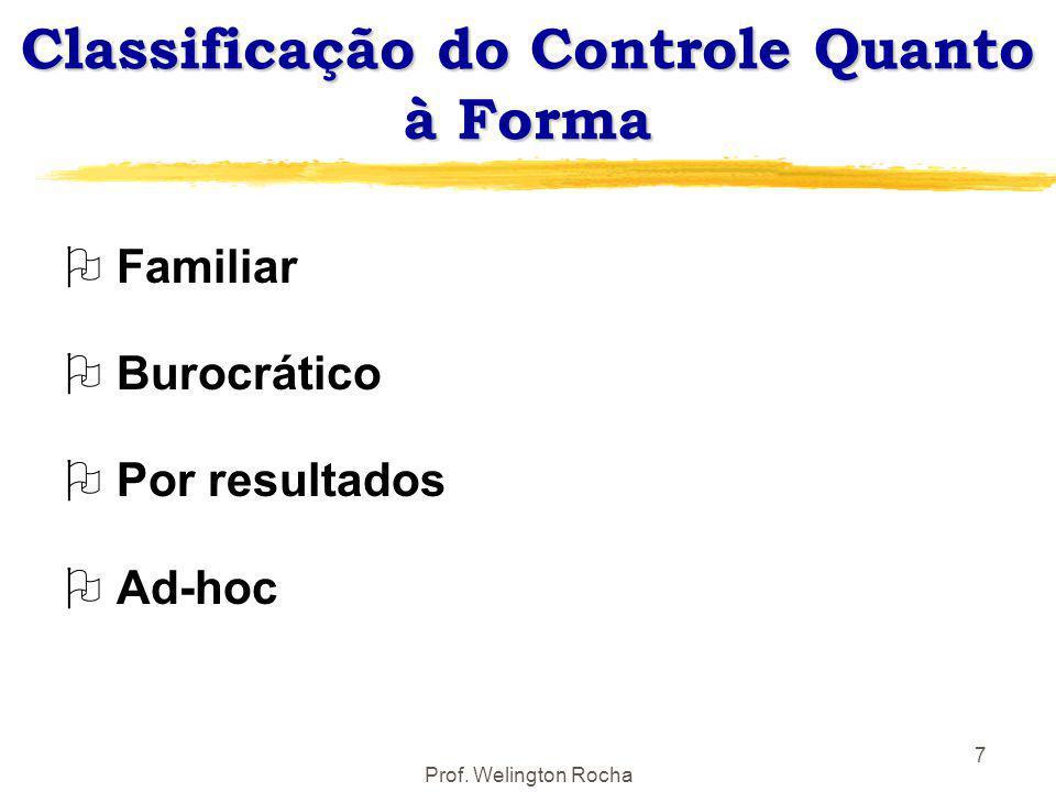 Prof. Welington Rocha 7 Classificação do Controle Quanto à Forma O Familiar O Burocrático O Por resultados O Ad-hoc
