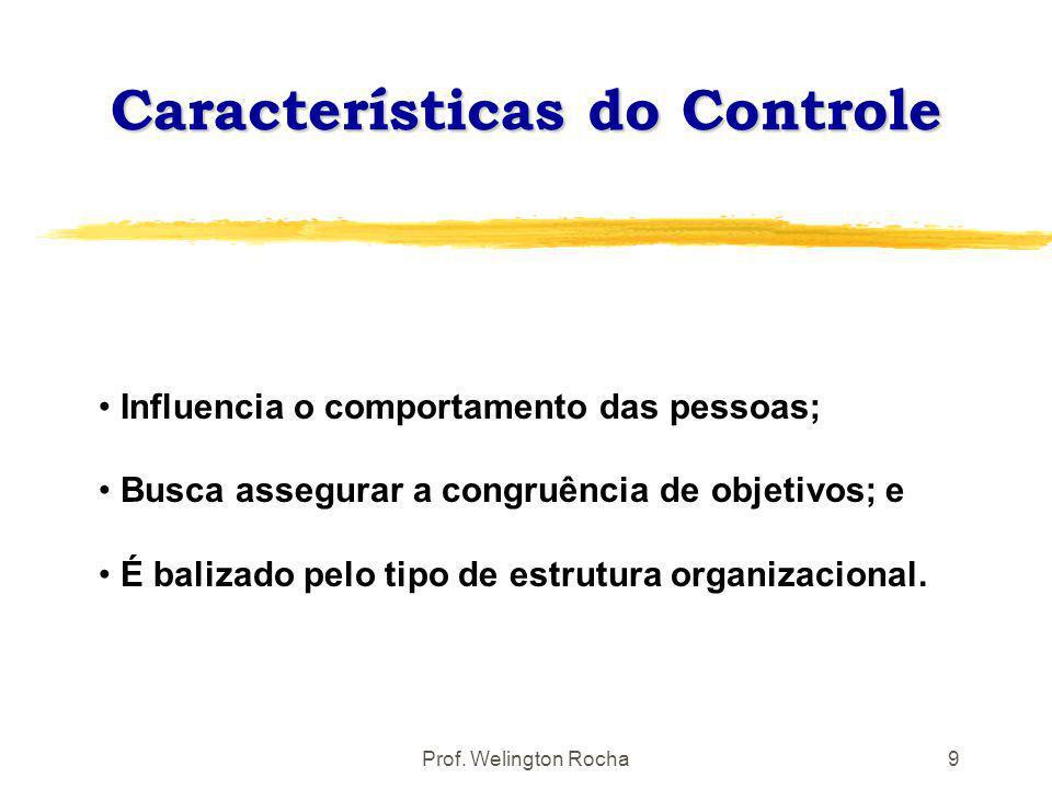 Prof. Welington Rocha9 Influencia o comportamento das pessoas; Busca assegurar a congruência de objetivos; e É balizado pelo tipo de estrutura organiz