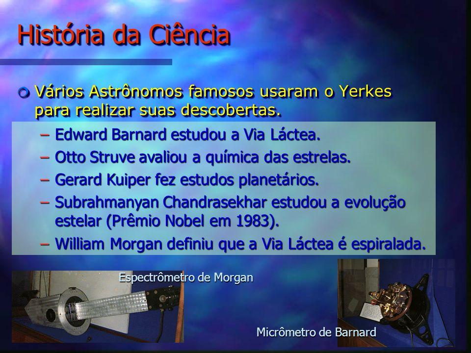 História da Ciência Vários Astrônomos famosos usaram o Yerkes para realizar suas descobertas.