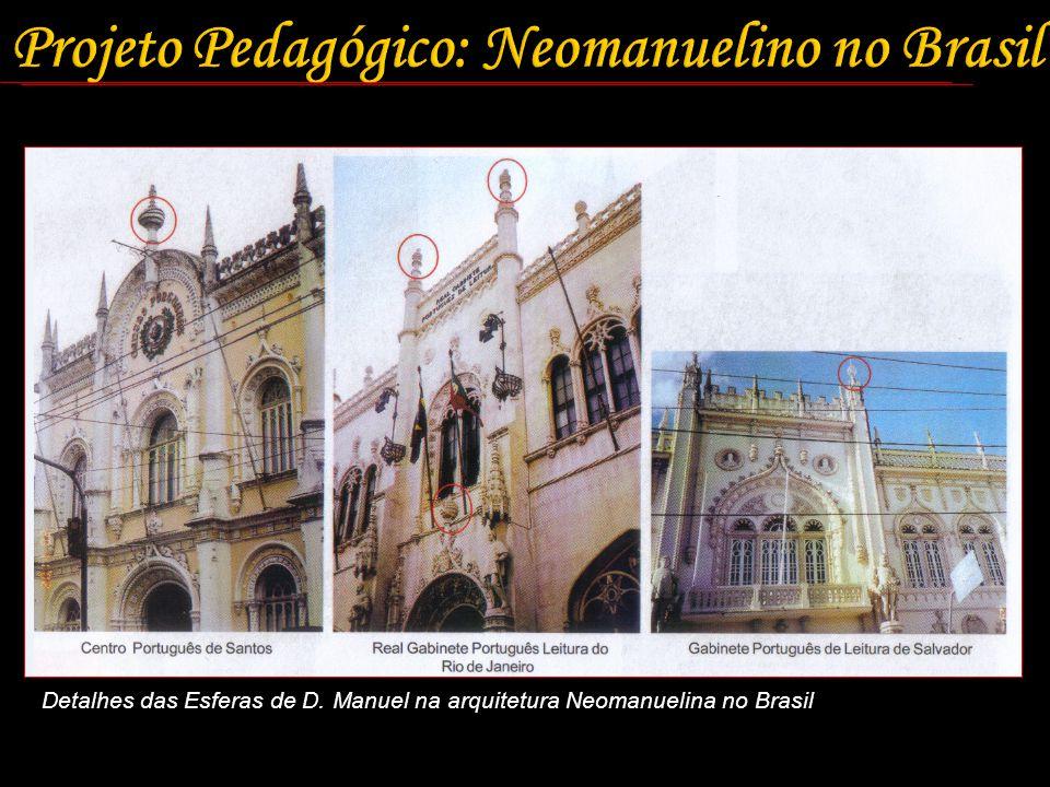 Detalhes das Esferas de D. Manuel na arquitetura Neomanuelina no Brasil