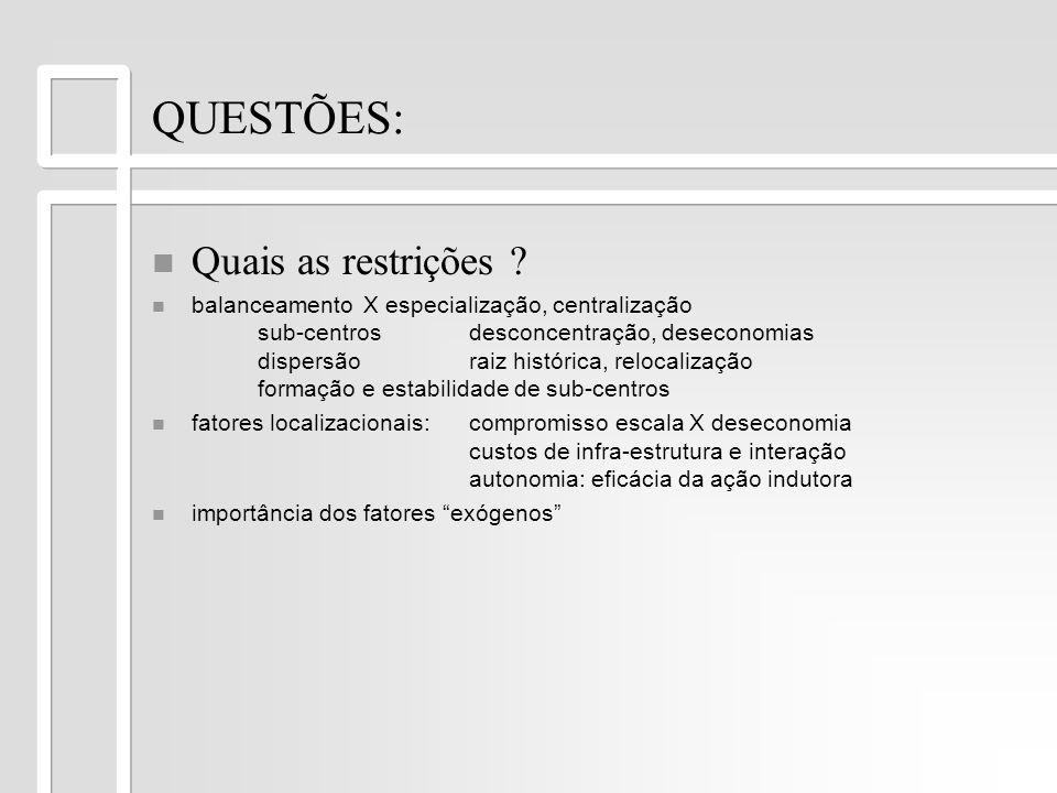 QUESTÕES: n n Quais as restrições ? n n balanceamento X especialização, centralização sub-centrosdesconcentração, deseconomias dispersãoraiz histórica