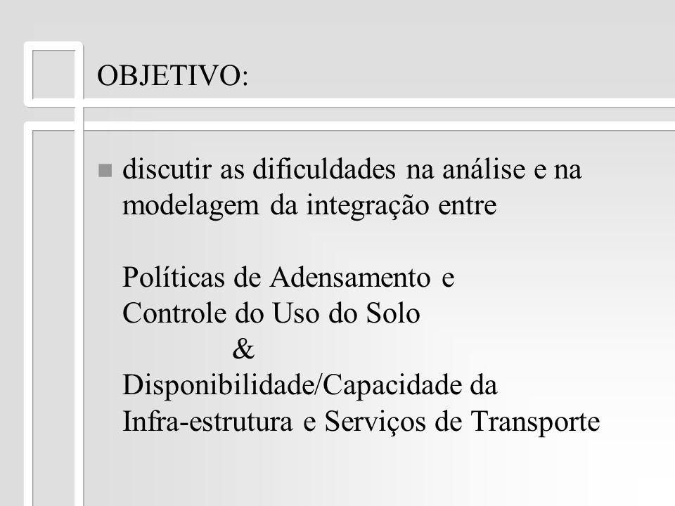 OBJETIVO: n n discutir as dificuldades na análise e na modelagem da integração entre Políticas de Adensamento e Controle do Uso do Solo & Disponibilid