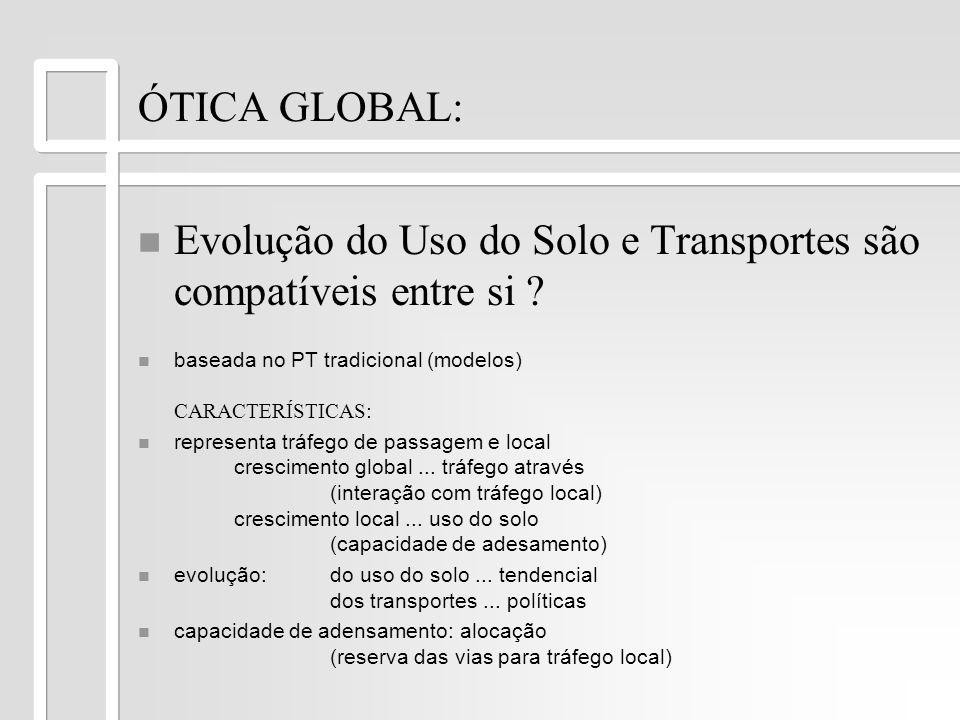 ÓTICA GLOBAL: Evolução do Uso do Solo e Transportes são compatíveis entre si ? baseada no PT tradicional (modelos) CARACTERÍSTICAS: n n representa trá