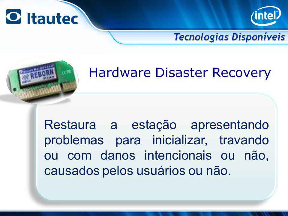 Hardware Disaster Recovery Tecnologias Disponíveis Restaura a estação apresentando problemas para inicializar, travando ou com danos intencionais ou n