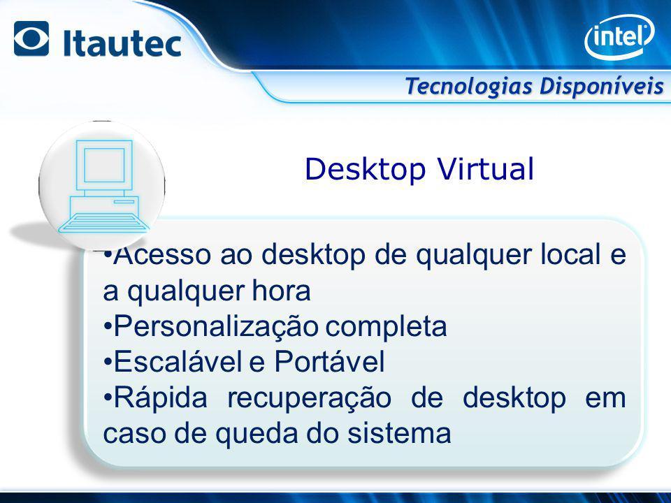 Desktop Virtual Tecnologias Disponíveis Acesso ao desktop de qualquer local e a qualquer hora Personalização completa Escalável e Portável Rápida recu