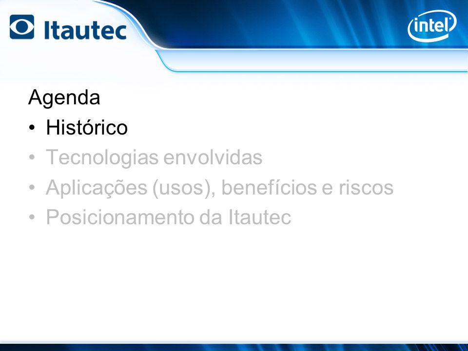 Agenda Histórico Tecnologias envolvidas Aplicações (usos), benefícios e riscos Posicionamento da Itautec
