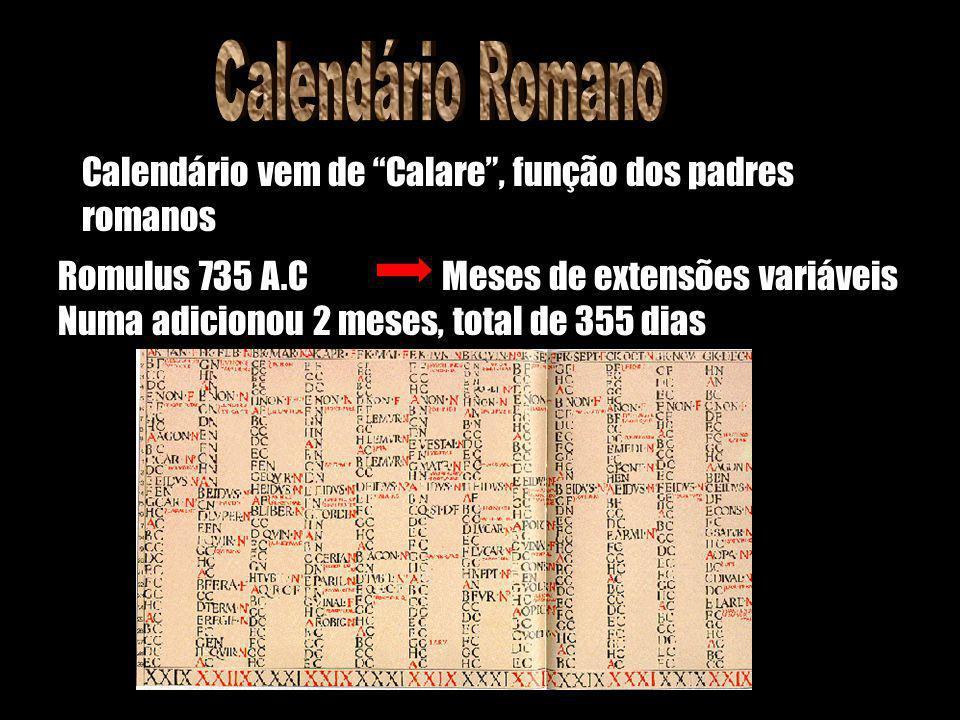 Romulus 735 A.C Numa adicionou 2 meses, total de 355 dias Calendário vem de Calare, função dos padres romanos Meses de extensões variáveis