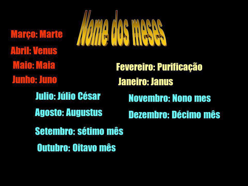 Março: Marte Junho: Juno Julio: Júlio César Agosto: Augustus Setembro: sétimo mês Abril: Venus Maio: Maia Outubro: Oitavo mês Novembro: Nono mes Dezem
