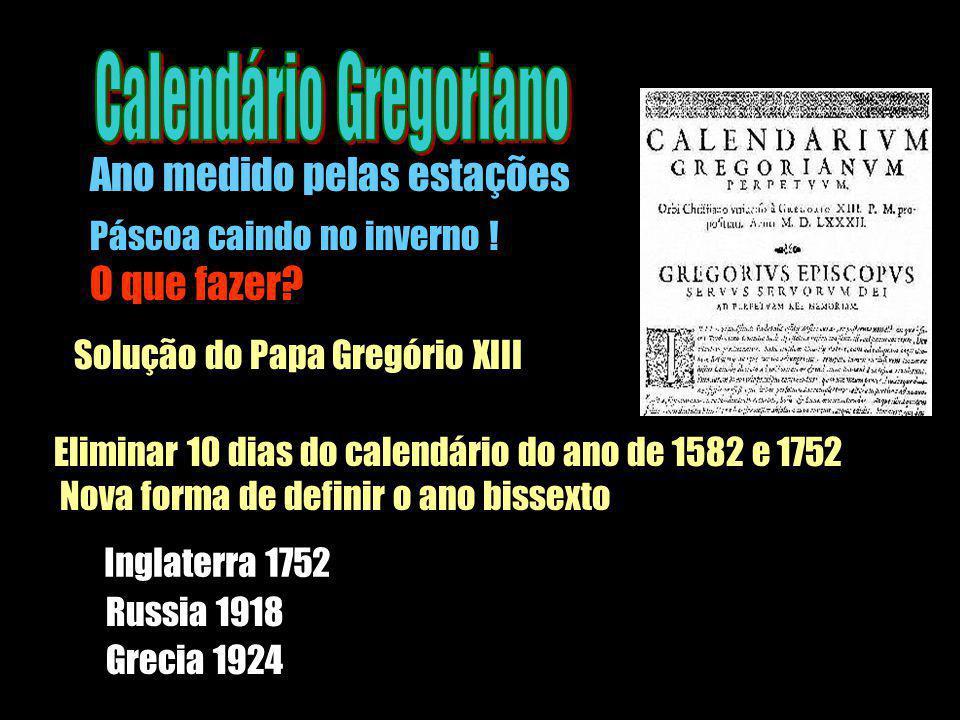 Páscoa caindo no inverno ! O que fazer? Solução do Papa Gregório XIII Eliminar 10 dias do calendário do ano de 1582 e 1752 Nova forma de definir o ano