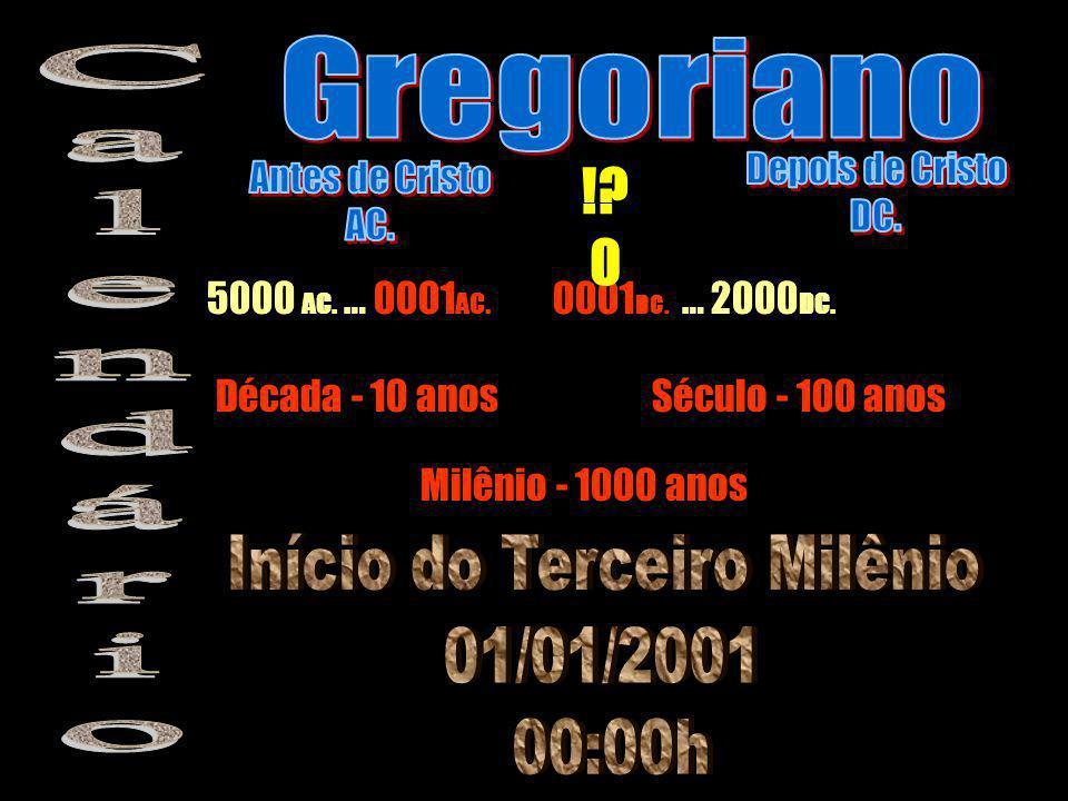 5000 AC. … 0001 AC. 0001 DC. … 2000 DC. Década - 10 anosSéculo - 100 anos Milênio - 1000 anos !? 0