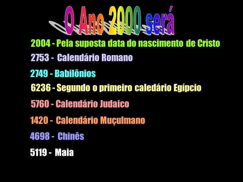 2004 - Pela suposta data do nascimento de Cristo 2753 - Calendário Romano 2749 - Babilônios 6236 - Segundo o primeiro caledário Egípcio 5760 - Calendá