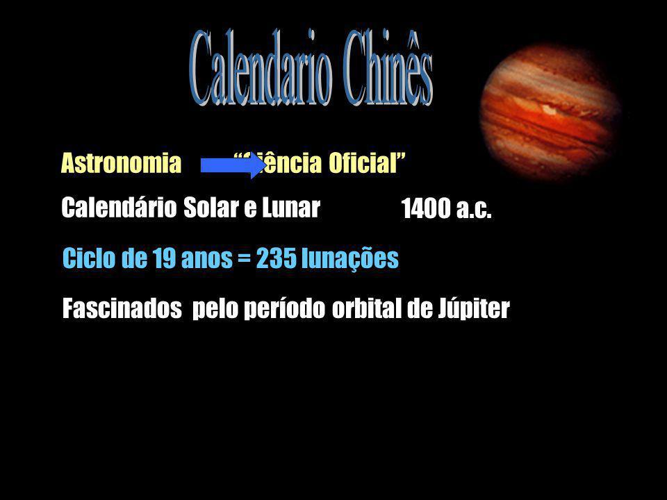 Astronomia Ciência Oficial Calendário Solar e Lunar 1400 a.c. Ciclo de 19 anos = 235 lunações Fascinados pelo período orbital de Júpiter