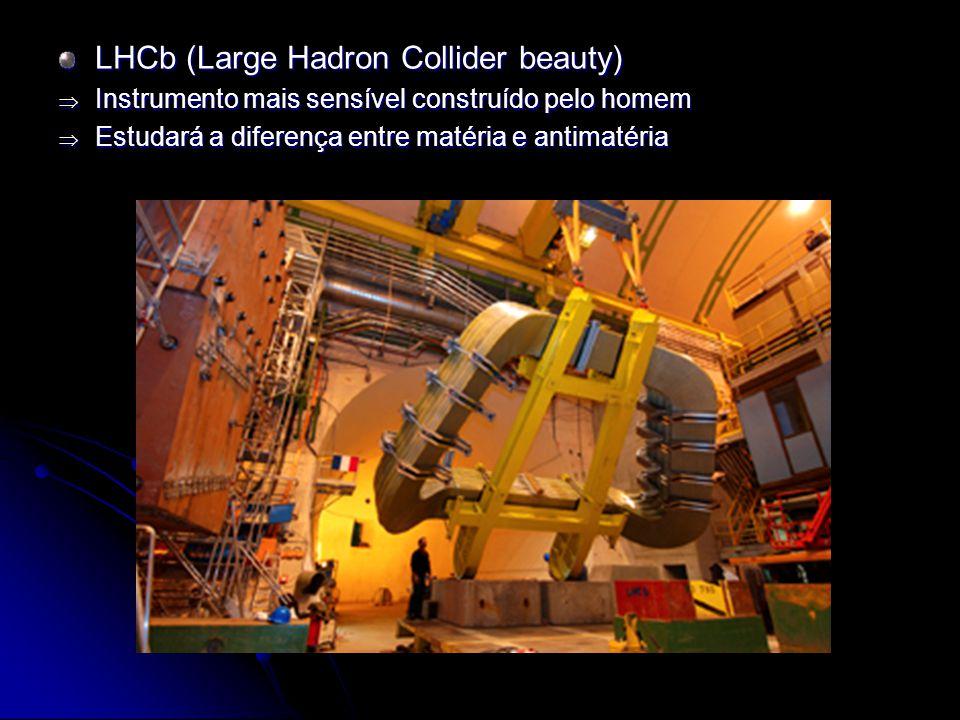 LHCb (Large Hadron Collider beauty) Instrumento mais sensível construído pelo homem Instrumento mais sensível construído pelo homem Estudará a diferen