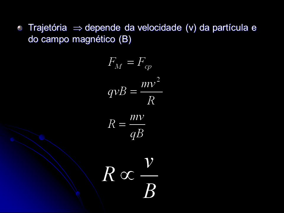 Trajetória depende da velocidade (v) da partícula e do campo magnético (B)