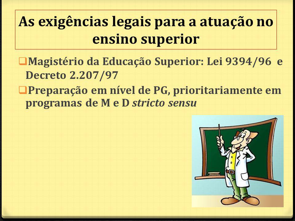 As exigências legais para a atuação no ensino superior Magistério da Educação Superior: Lei 9394/96 e Decreto 2.207/97 Preparação em nível de PG, prioritariamente em programas de M e D stricto sensu