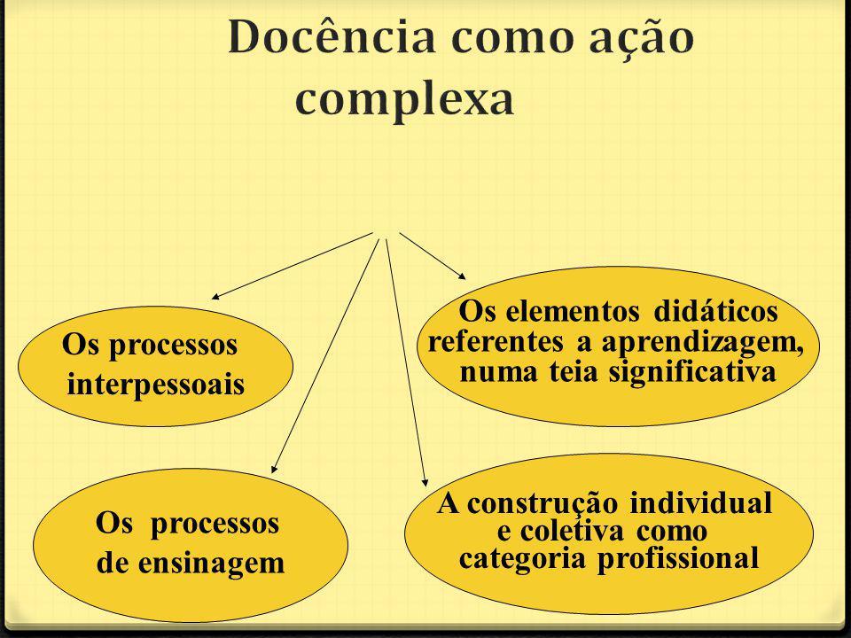 Os processos interpessoais A construção individual e coletiva como categoria profissional Os elementos didáticos referentes a aprendizagem, numa teia significativa Os processos de ensinagem