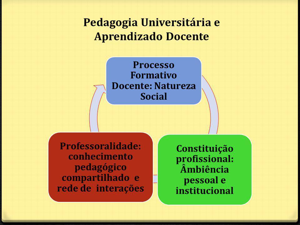 Processo Formativo Docente: Natureza Social Constituição profissional: Âmbiência pessoal e institucional Professoralidade: conhecimento pedagógico compartilhado e rede de interações Pedagogia Universitária e Aprendizado Docente