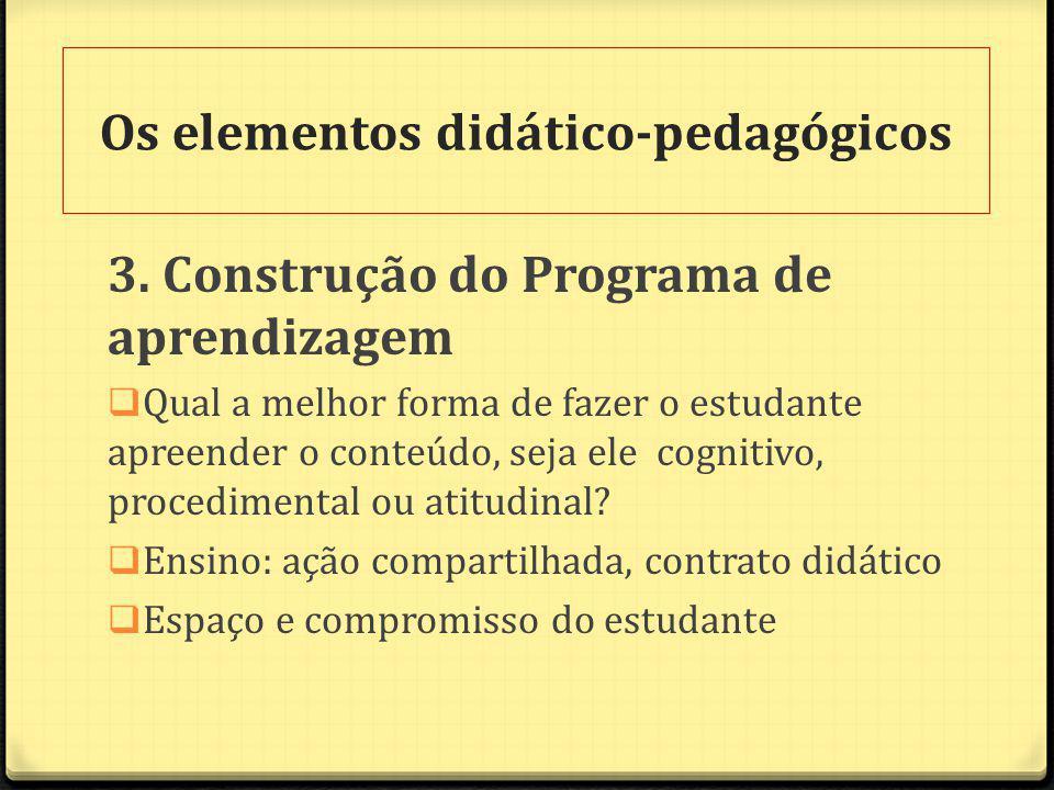 3. Construção do Programa de aprendizagem Qual a melhor forma de fazer o estudante apreender o conteúdo, seja ele cognitivo, procedimental ou atitudin