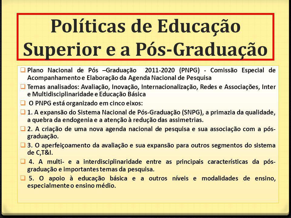 Políticas de Educação Superior e a Pós-Graduação Plano Nacional de Pós –Graduação 2011-2020 (PNPG) - Comissão Especial de Acompanhamento e Elaboração da Agenda Nacional de Pesquisa Temas analisados: Avaliação, Inovação, Internacionalização, Redes e Associações, Inter e Multidisciplinaridade e Educação Básica O PNPG está organizado em cinco eixos: 1.