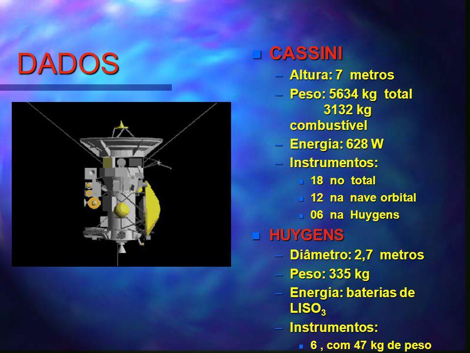 DADOS CASSINI –Altura: 7 metros –Peso: 5634 kg total 3132 kg combustível –Energia: 628 W –Instrumentos: 18 no total 12 na nave orbital 06 na Huygens HUYGENS –Diâmetro: 2,7 metros –Peso: 335 kg –Energia: baterias de LISO 3 –Instrumentos: 6, com 47 kg de peso