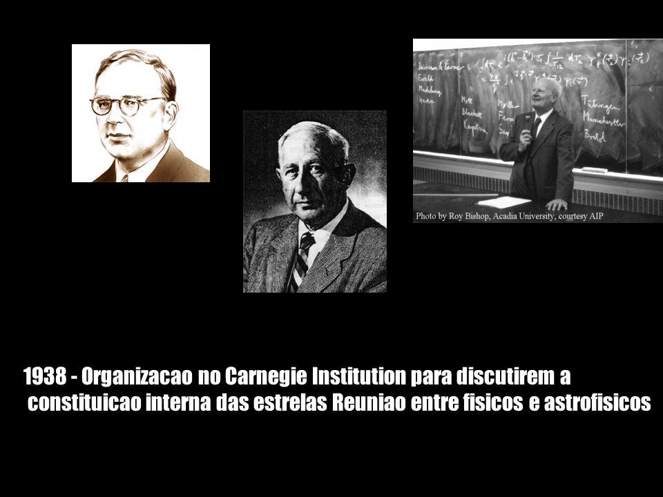 1938 - Organizacao no Carnegie Institution para discutirem a constituicao interna das estrelas Reuniao entre fisicos e astrofisicos