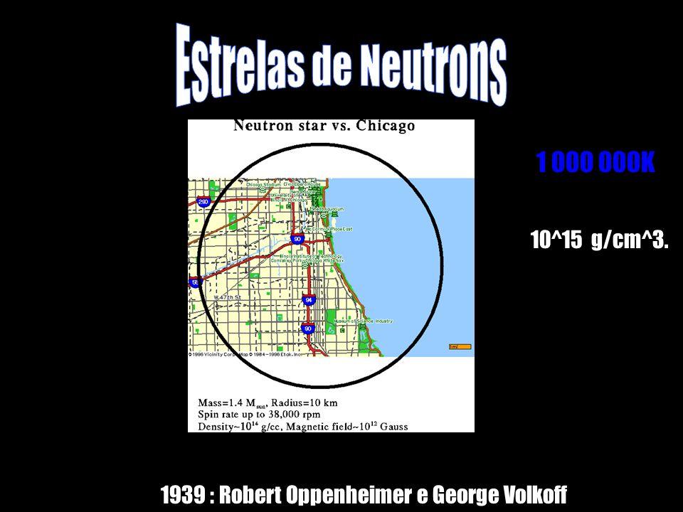 1 000 000K 1939 : Robert Oppenheimer e George Volkoff 10^15 g/cm^3.