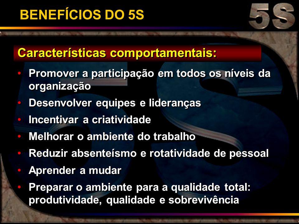 BENEFÍCIOS DO 5S Características comportamentais: Promover a participação em todos os níveis da organização Desenvolver equipes e lideranças Incentiva