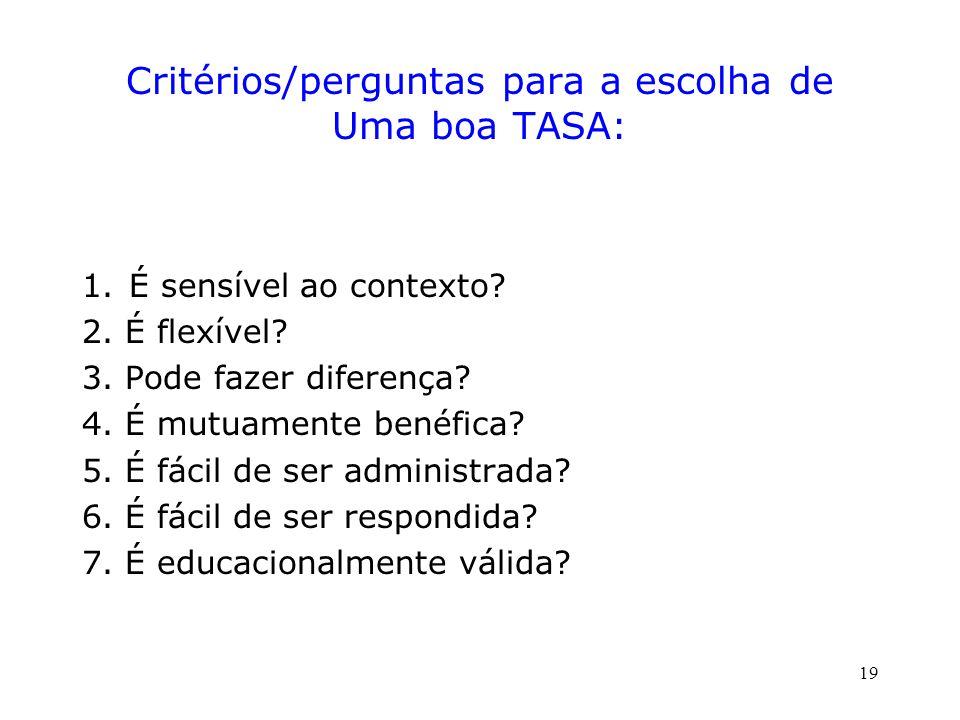 Critérios/perguntas para a escolha de Uma boa TASA: 1.