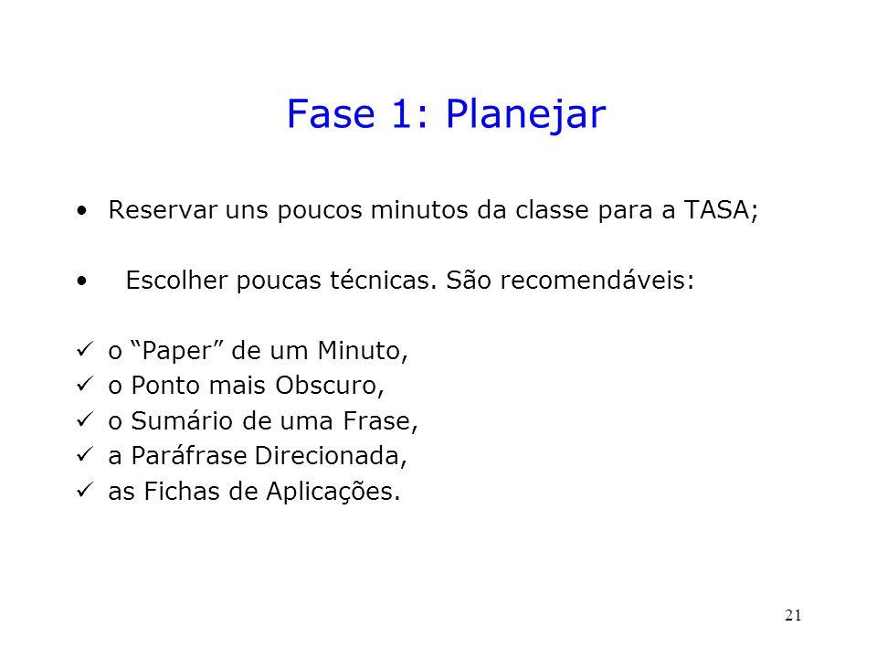 Fase 1: Planejar Reservar uns poucos minutos da classe para a TASA; Escolher poucas técnicas.