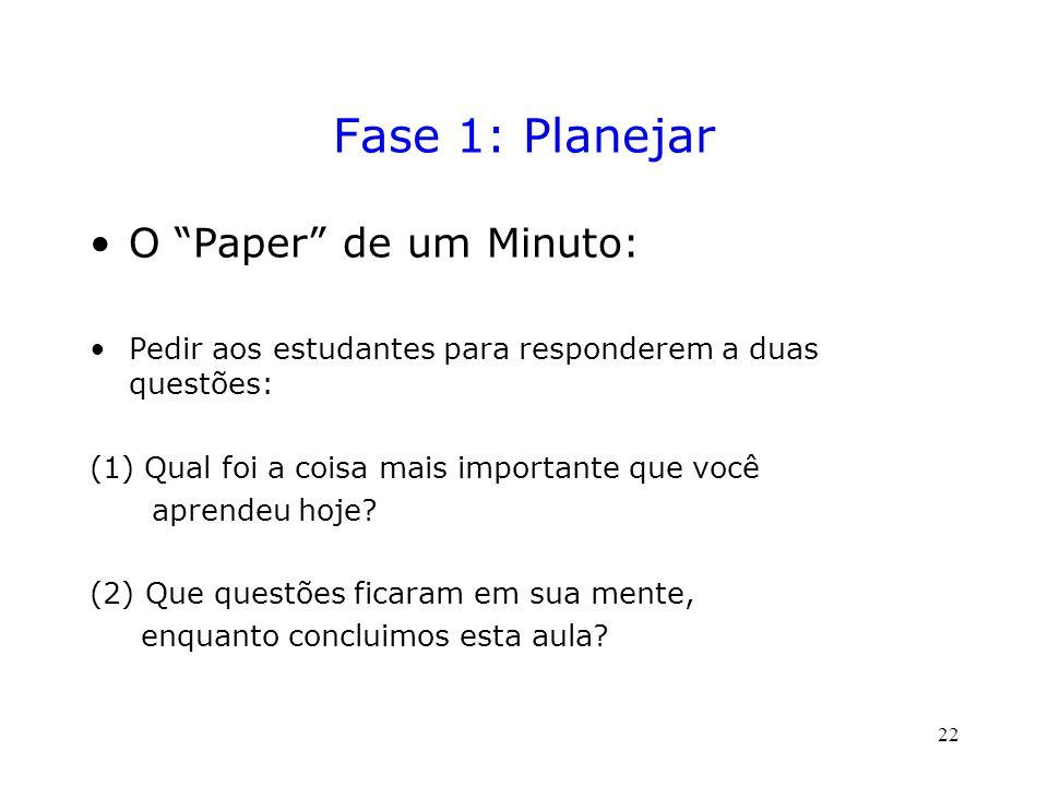 Fase 1: Planejar O Paper de um Minuto: Pedir aos estudantes para responderem a duas questões: (1) Qual foi a coisa mais importante que você aprendeu hoje.