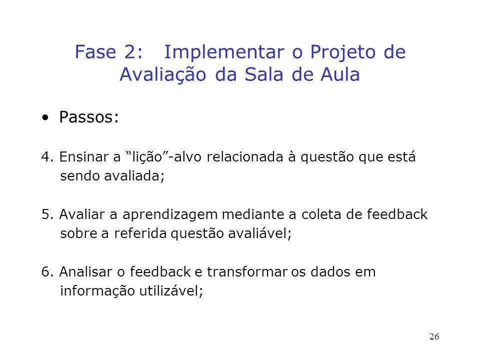 Fase 2: Implementar o Projeto de Avaliação da Sala de Aula Passos: 4.