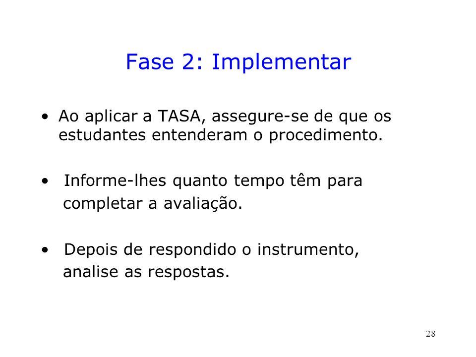 Fase 2: Implementar Ao aplicar a TASA, assegure-se de que os estudantes entenderam o procedimento.