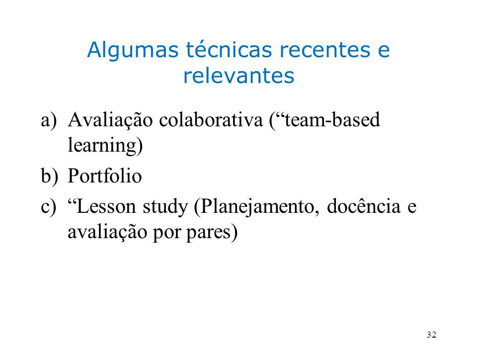 Algumas técnicas recentes e relevantes a)Avaliação colaborativa (team-based learning) b)Portfolio c)Lesson study (Planejamento, docência e avaliação por pares) 32