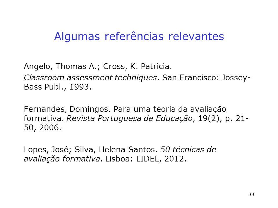 Algumas referências relevantes Angelo, Thomas A.; Cross, K.