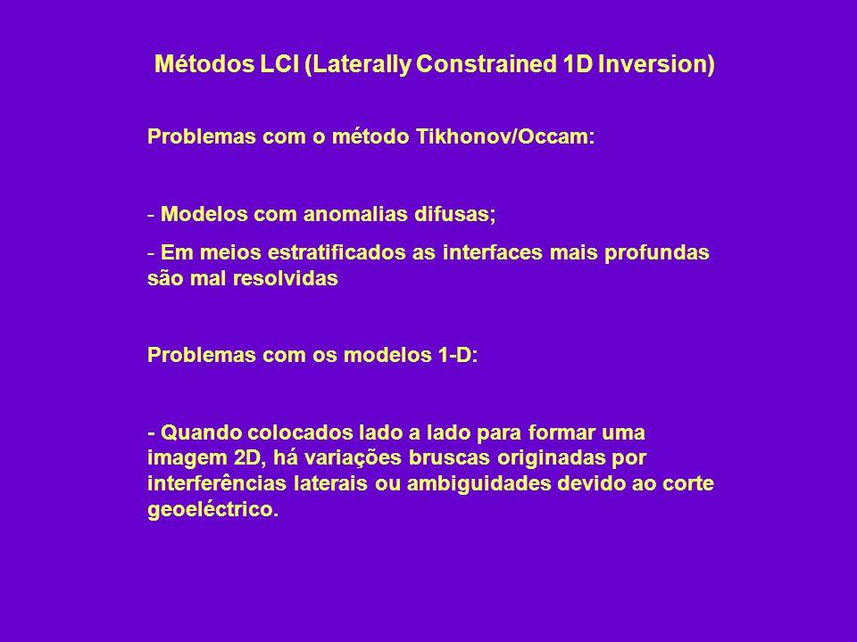 Métodos LCI (Laterally Constrained 1D Inversion) Problemas com o método Tikhonov/Occam: - Modelos com anomalias difusas; - Em meios estratificados as