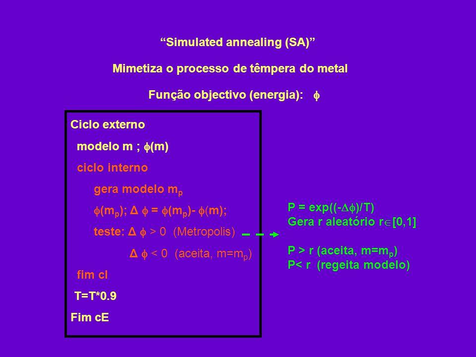 Simulated annealing (SA) Função objectivo (energia): Mimetiza o processo de têmpera do metal Ciclo externo modelo m ; (m) ciclo interno gera modelo m p (m p ); Δ = (m p )- (m); teste: Δ > 0 (Metropolis) Δ < 0 (aceita, m=m p ) fim cI T=T*0.9 Fim cE P = exp((- )/T) Gera r aleatório r [0,1] P > r (aceita, m=m p ) P< r (regeita modelo)