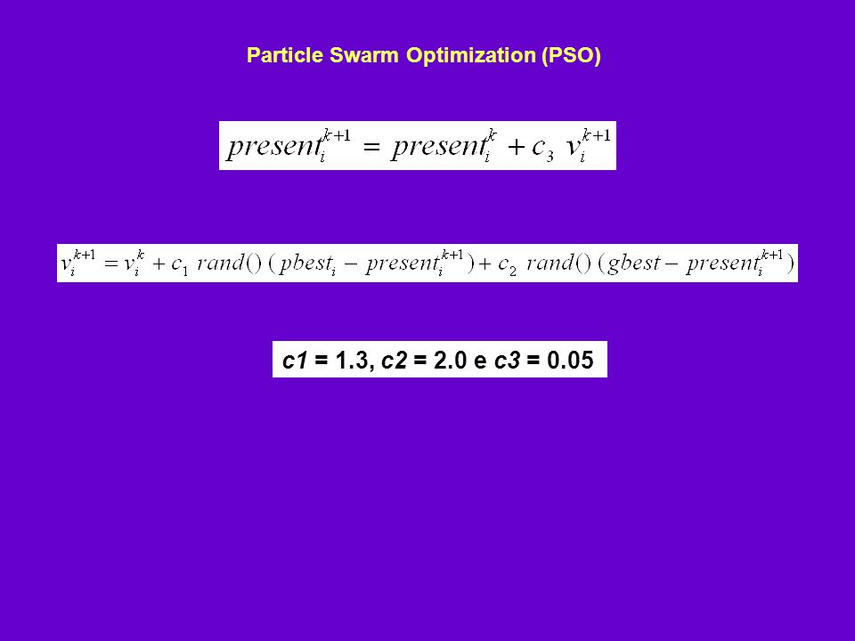 Particle Swarm Optimization (PSO) c1 = 1.3, c2 = 2.0 e c3 = 0.05