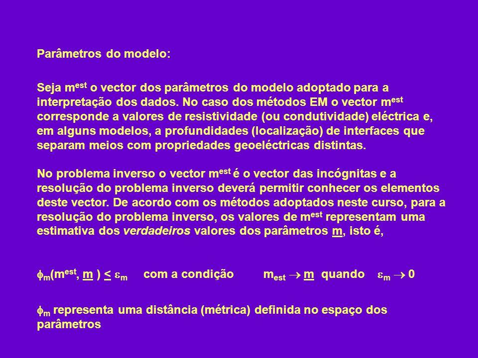 Parâmetros do modelo: Seja m est o vector dos parâmetros do modelo adoptado para a interpretação dos dados. No caso dos métodos EM o vector m est corr