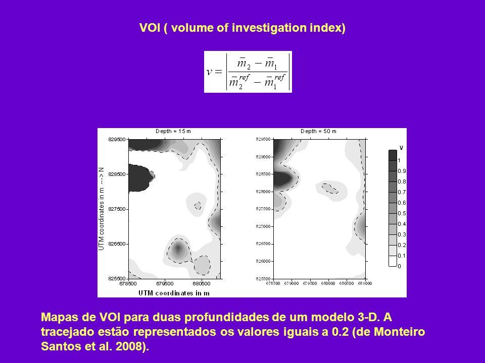 VOI ( volume of investigation index) Mapas de VOI para duas profundidades de um modelo 3-D.