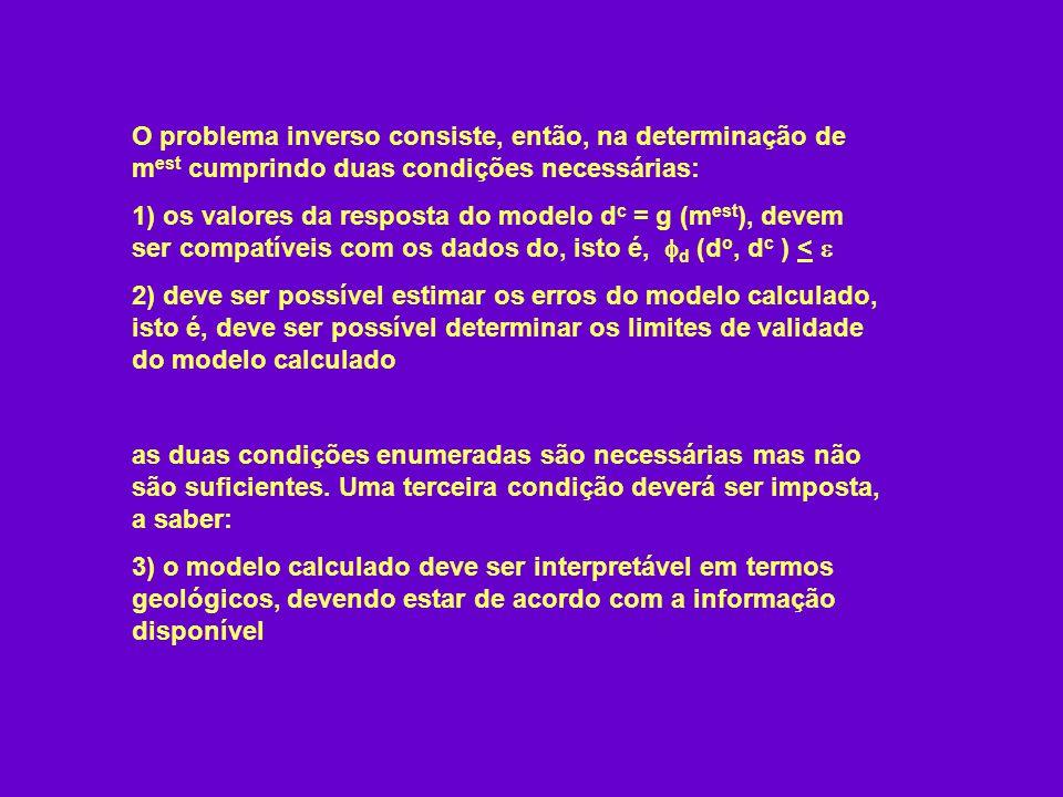 O problema inverso consiste, então, na determinação de m est cumprindo duas condições necessárias: 1) os valores da resposta do modelo d c = g (m est
