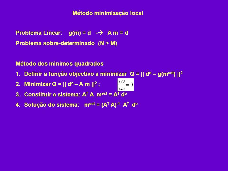 Problema Linear: g(m) = d - A m = d Problema sobre-determinado (N > M) Método dos mínimos quadrados 1.Definir a função objectivo a minimizar Q = || d o – g(m est ) || 2 2.Minimizar Q = || d o – A m || 2 ; 3.Constituir o sistema: A T A m est = A T d o 4.Solução do sistema: m est = (A T A) -1 A T d o Método minimização local