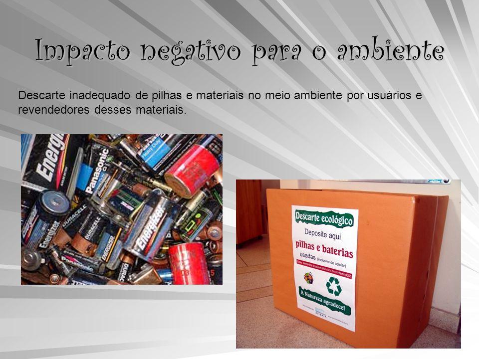 Impacto negativo para o ambiente Descarte inadequado de pilhas e materiais no meio ambiente por usuários e revendedores desses materiais.