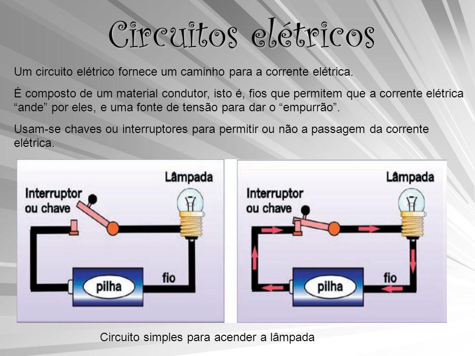 Circuitos elétricos Um circuito elétrico fornece um caminho para a corrente elétrica.